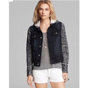Free People Denim Knit Hybrid Jean Jacket